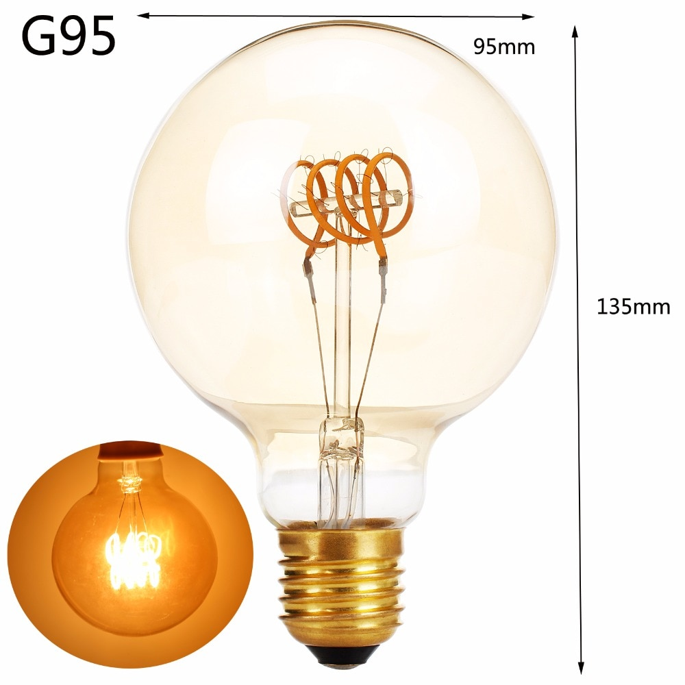 4W 6W 8W E27 G125 G95 G80 A60 T30 LED Edison Bulb 220V Home Light LED Filament Light Bulb