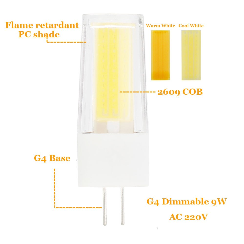 9W G4 G9 2609 COB LED Halogen Bulb AC220V Home Light LED Silica Gel Lamp