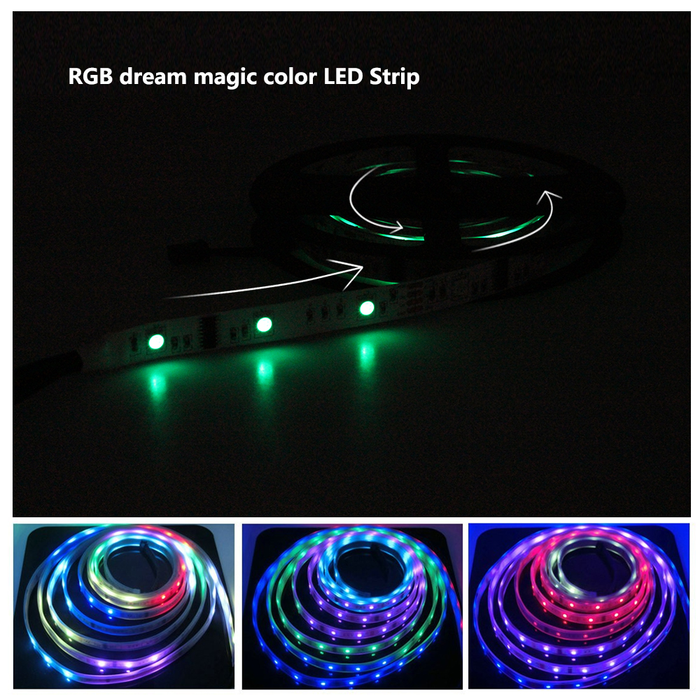 DC12V 6803 IC SMD 5050 RGB Dream Magic Color LED Strip 30LED/M