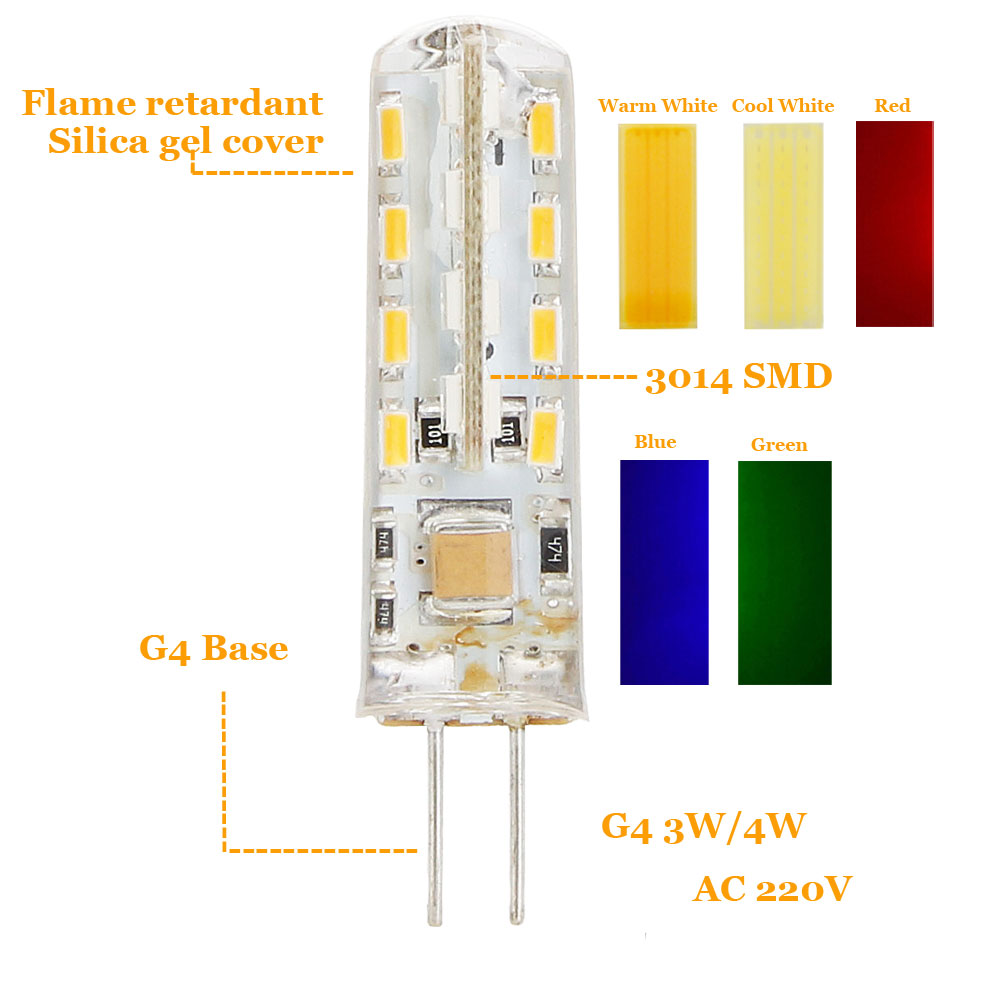 3W G4 3014 SMD LED Halogen Bulb AC220V Home Light LED Silica Gel Lamp