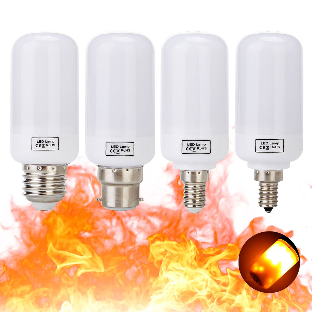 5W E27 E26 B22 E12 E14 2835 SMD Warm White LED Corn Bulb Lamp AC85V-265V Flame Fire Light