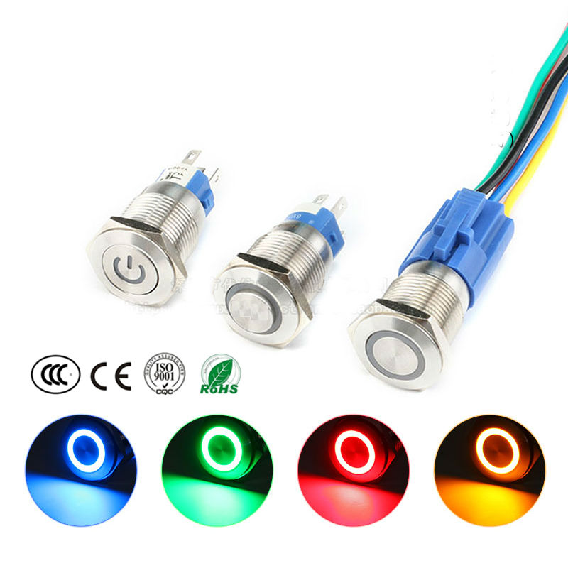 16MM Waterproof Metal Button Switch Self-lock Self-reset with LED Light