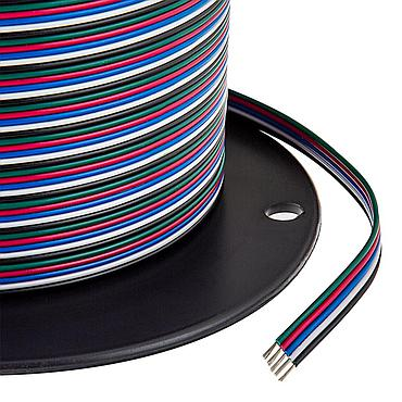 22 Gauge Electronic Wire - 5 Conductor RGB+W Extension Power Cable
